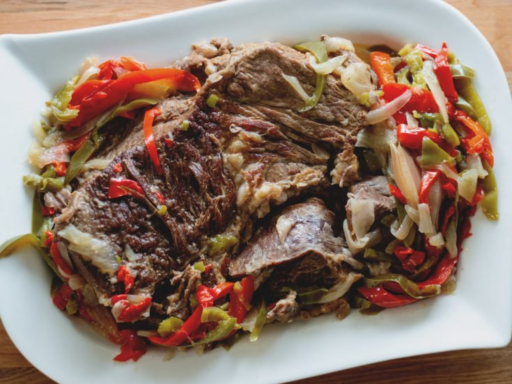 Peppered Beef | Instant Pot Recipe - Tender roast beef, smothered in peppers and onion.
