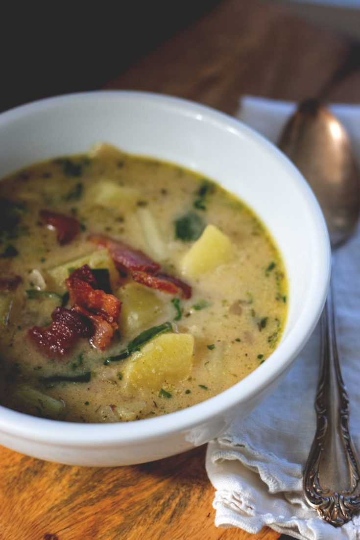 Sweet Potato, Bacon & Spinach Chowder