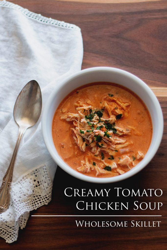 We all a love a thick, hearty soup that sticks to your ribs. But other times we want something a little more subdued and unpretentious. This Creamy Tomato and Chicken Soup is just what you are looking for. #SlowCooker #Paleo #Soup