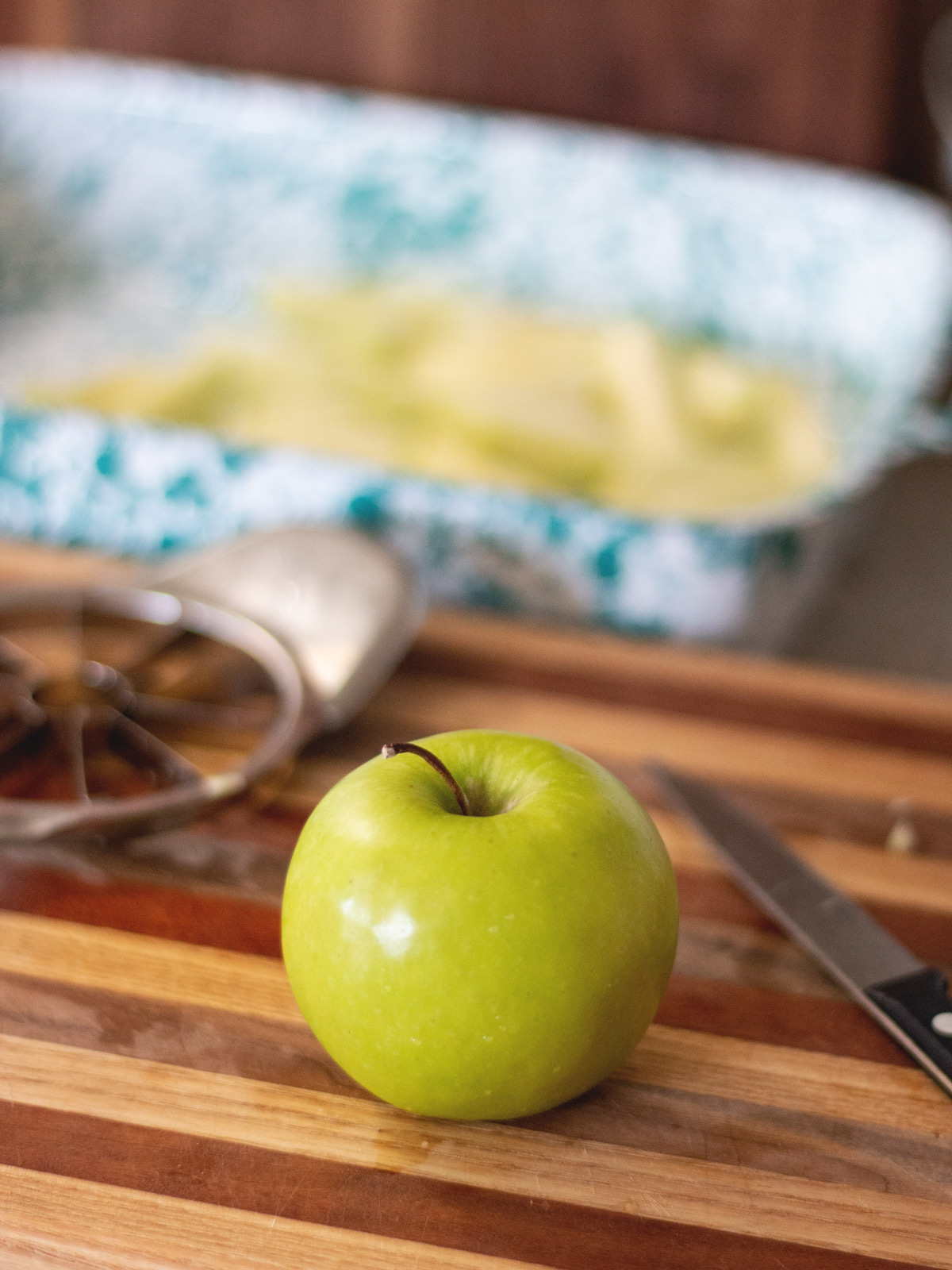 apple on cutting board
