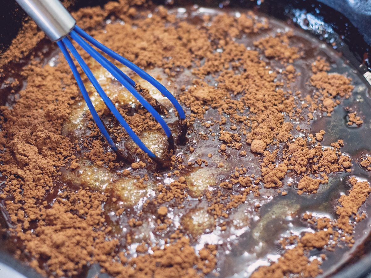 chocolate sauce in a skillet