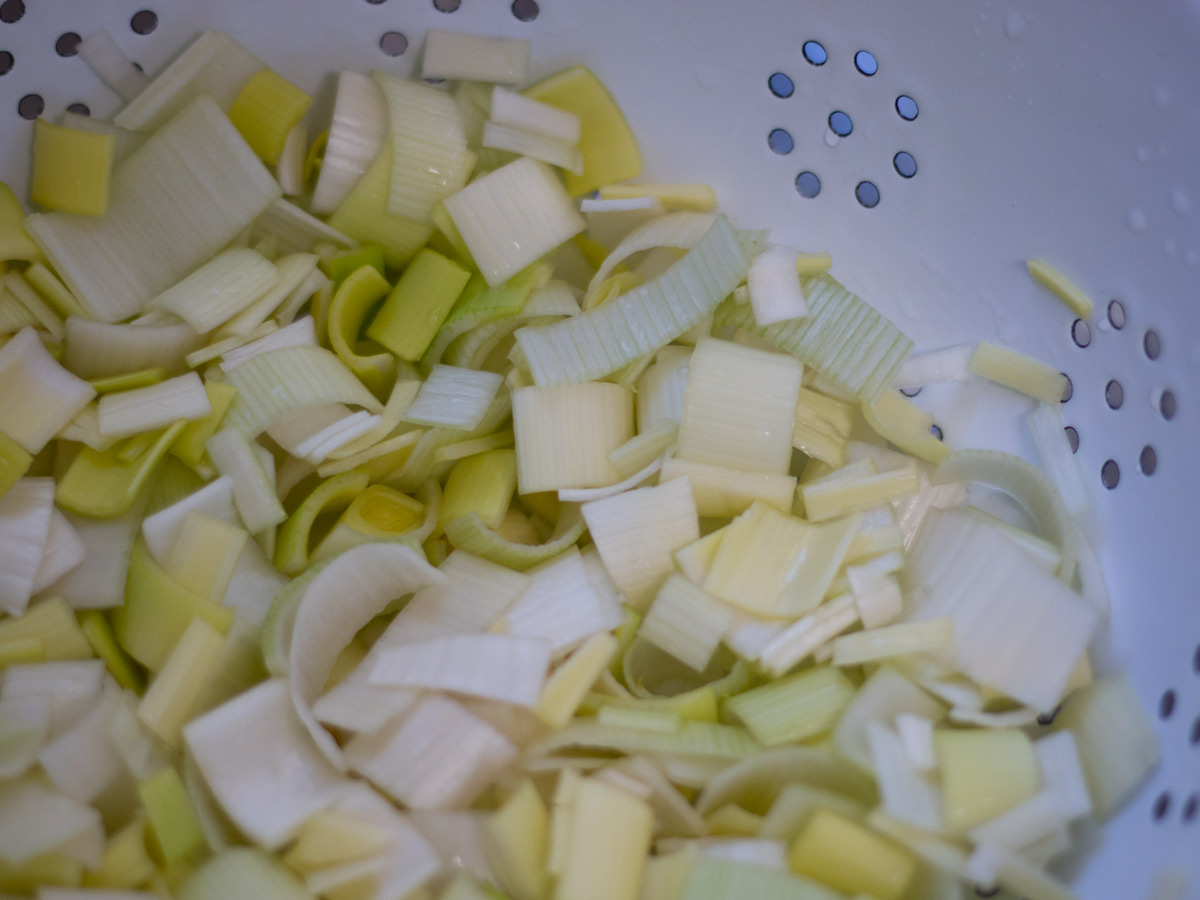 leeks being washed