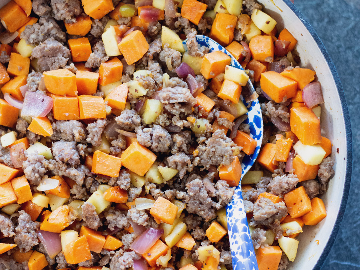 Healthy Sweet Potato and Sausage Hash with Apples and Onion | Wholesome Skillet