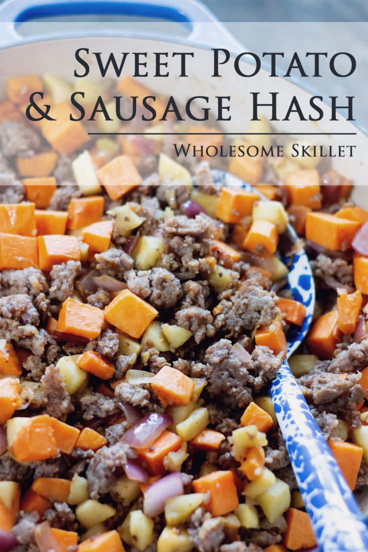 Sweet Potato and Sausage Hash is a healthy combination of sweet potatoes, onion and apple cooked with your favorite breakfast sausage. A great recipe for both brunch and supper.