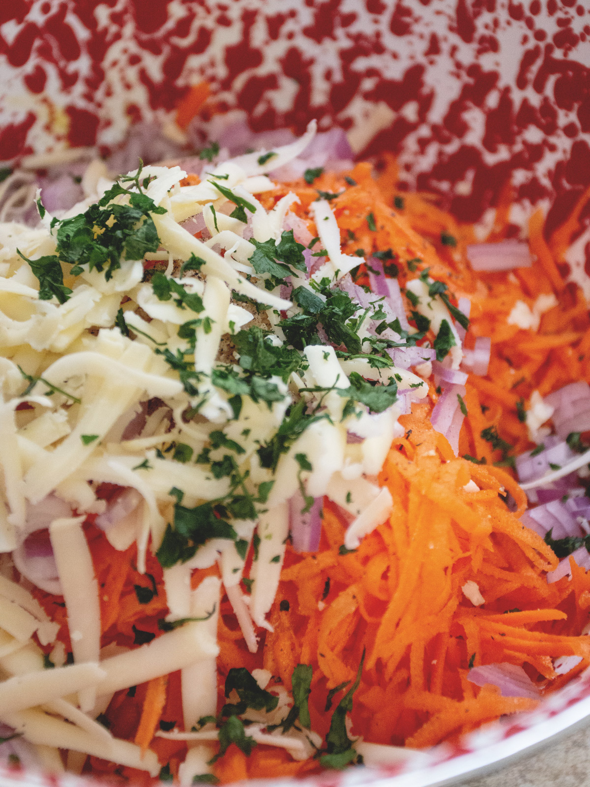 Savory Carrot Fritters ingredients in bowl