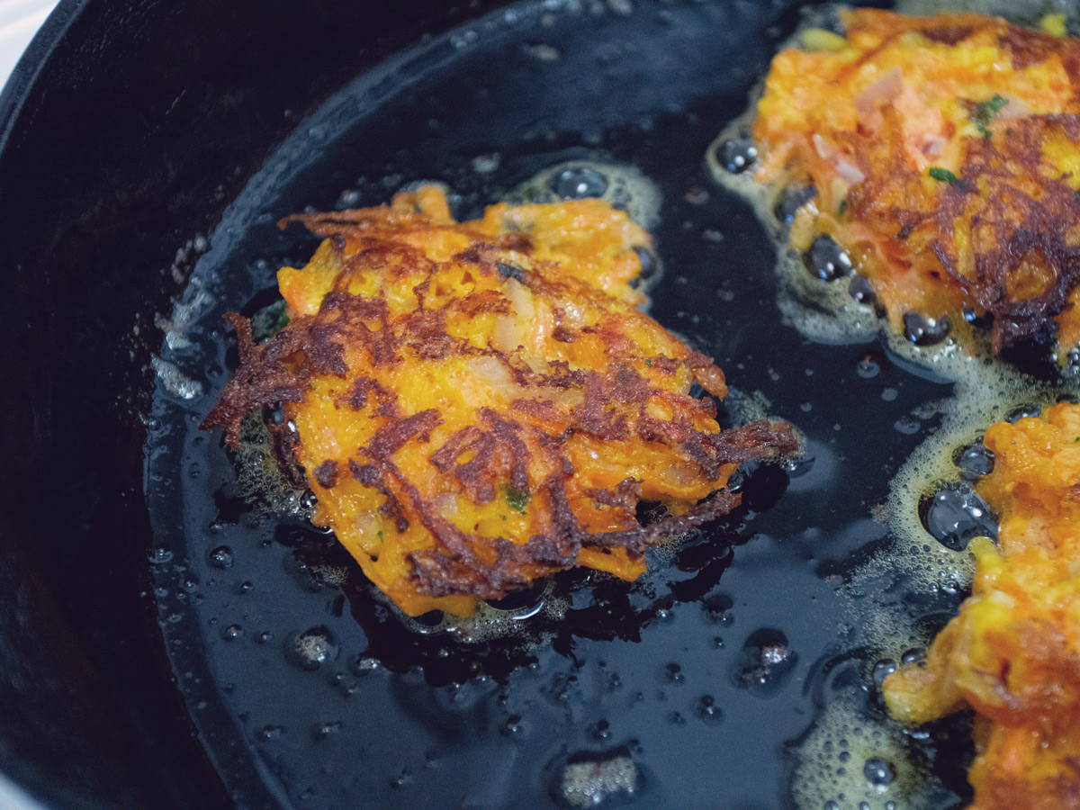 carrot fritters in skillet