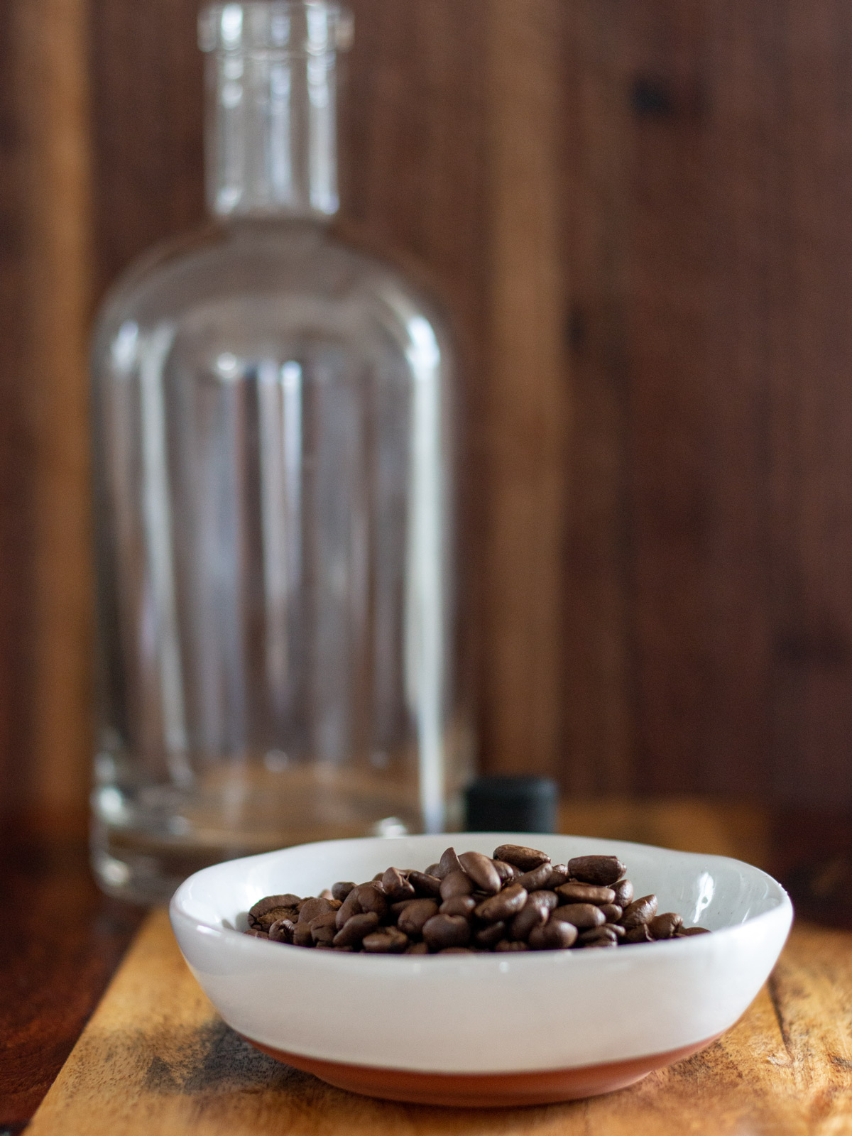 coffee beans and bottle
