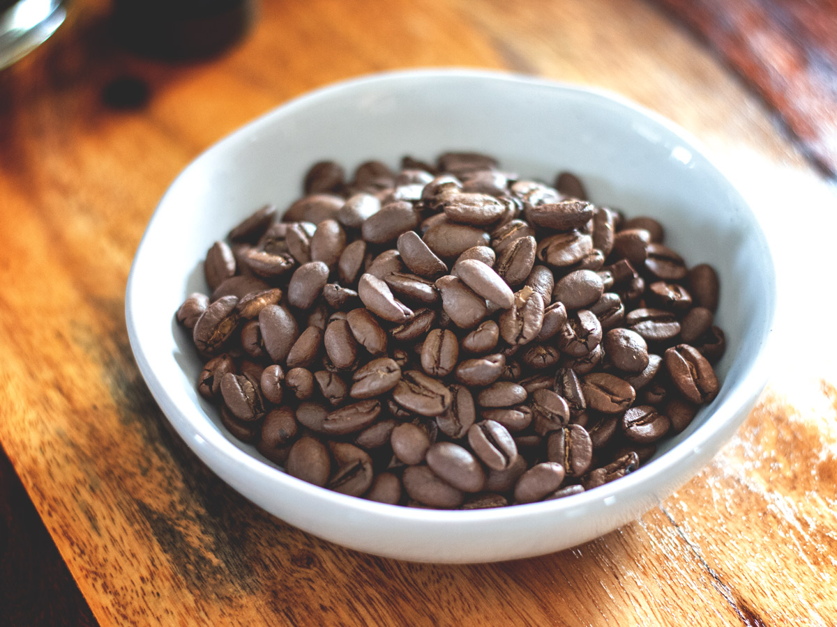 coffee beans in a dish