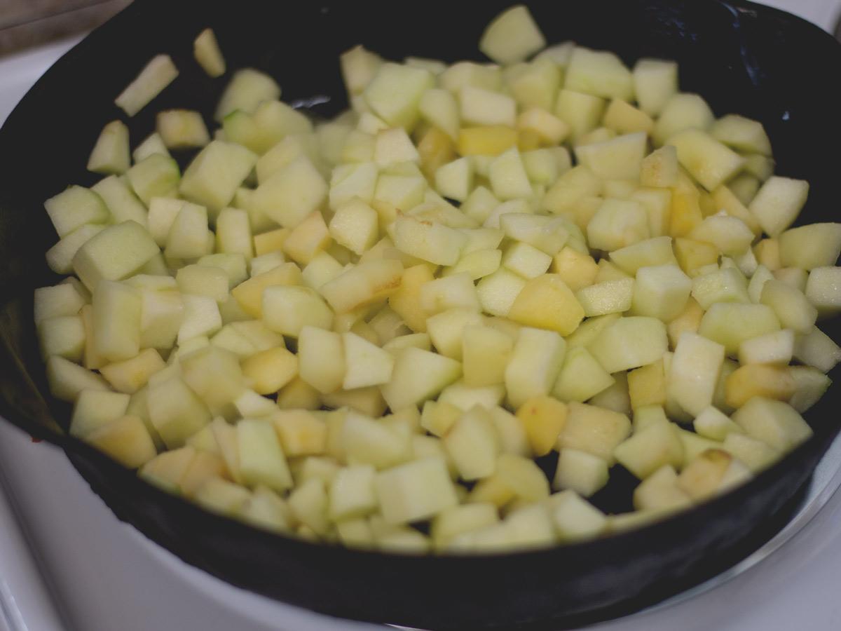 apples cooking in skillet