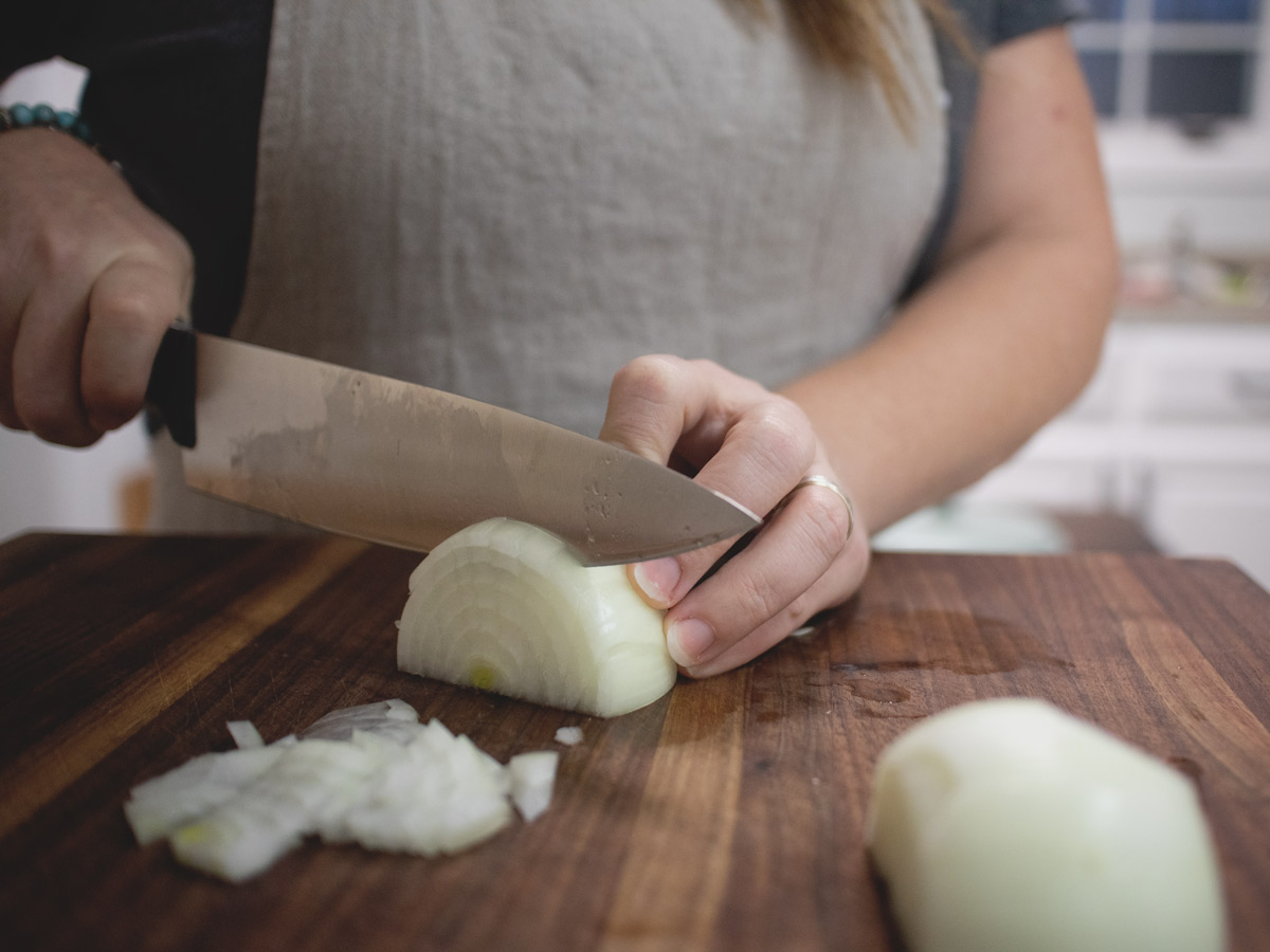 onion being diced