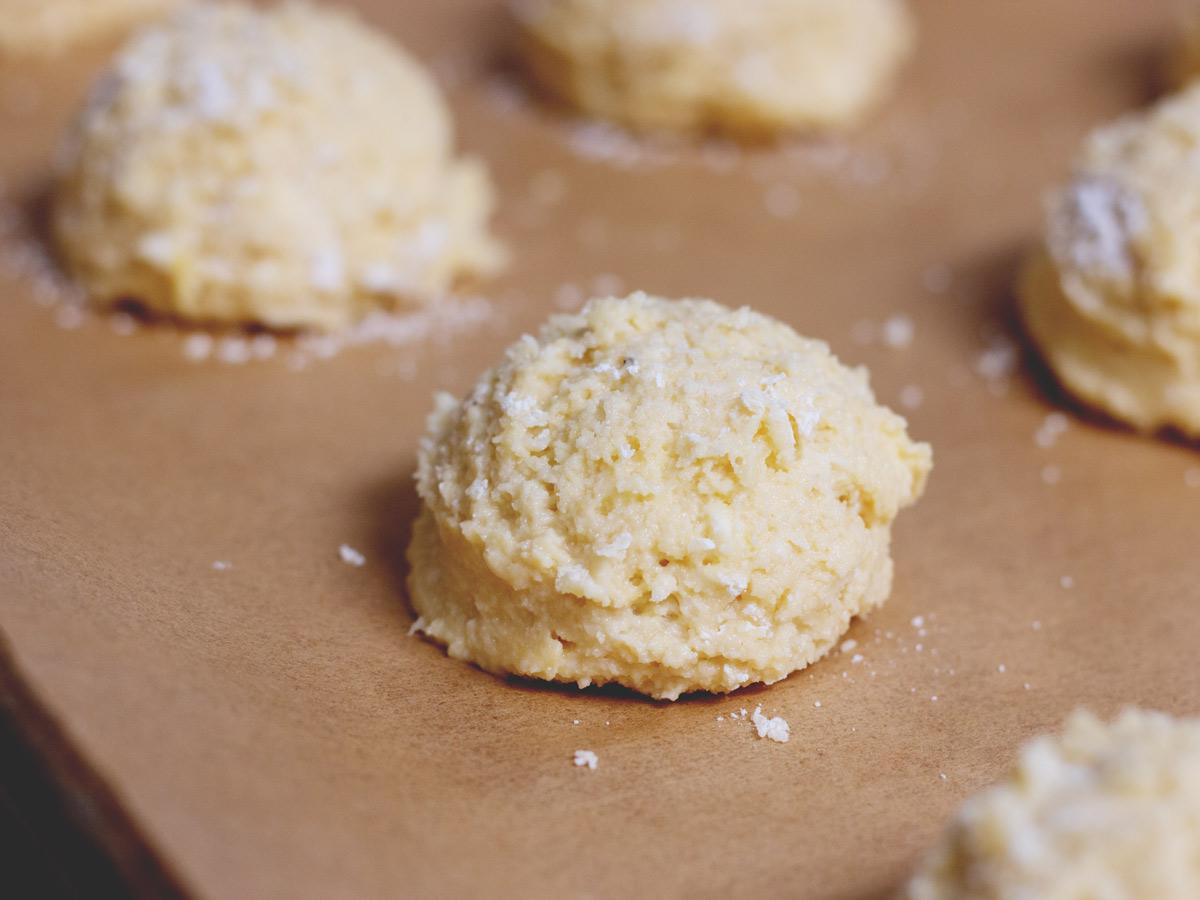 biscuit dough on baking sheet