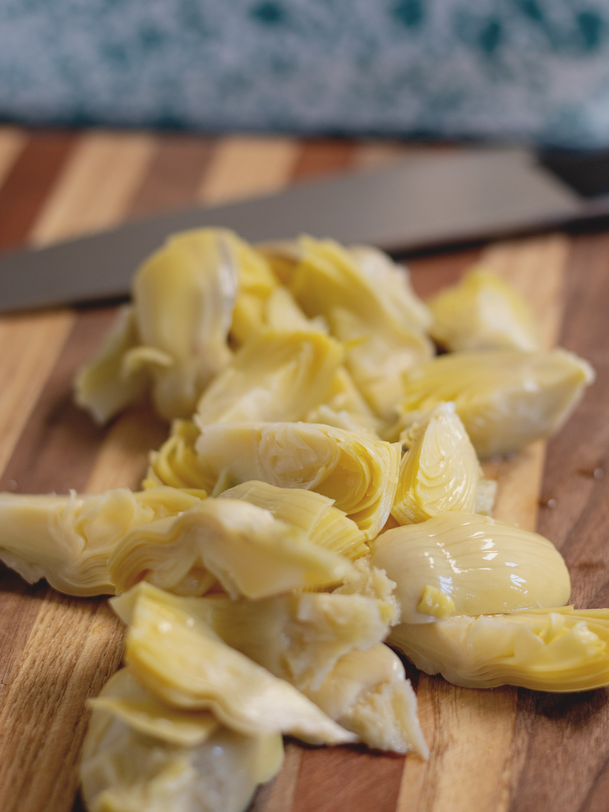 artichoke  hearts on cutting board
