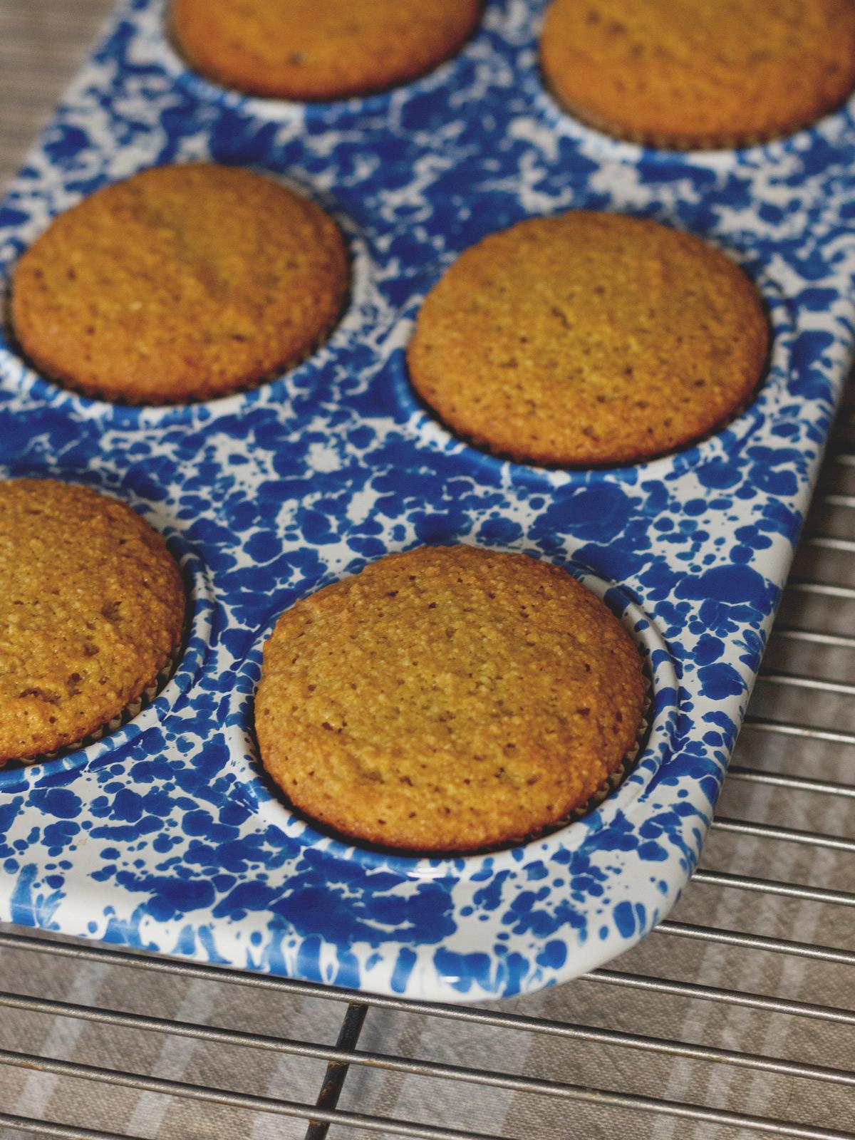 orange muffins in pan
