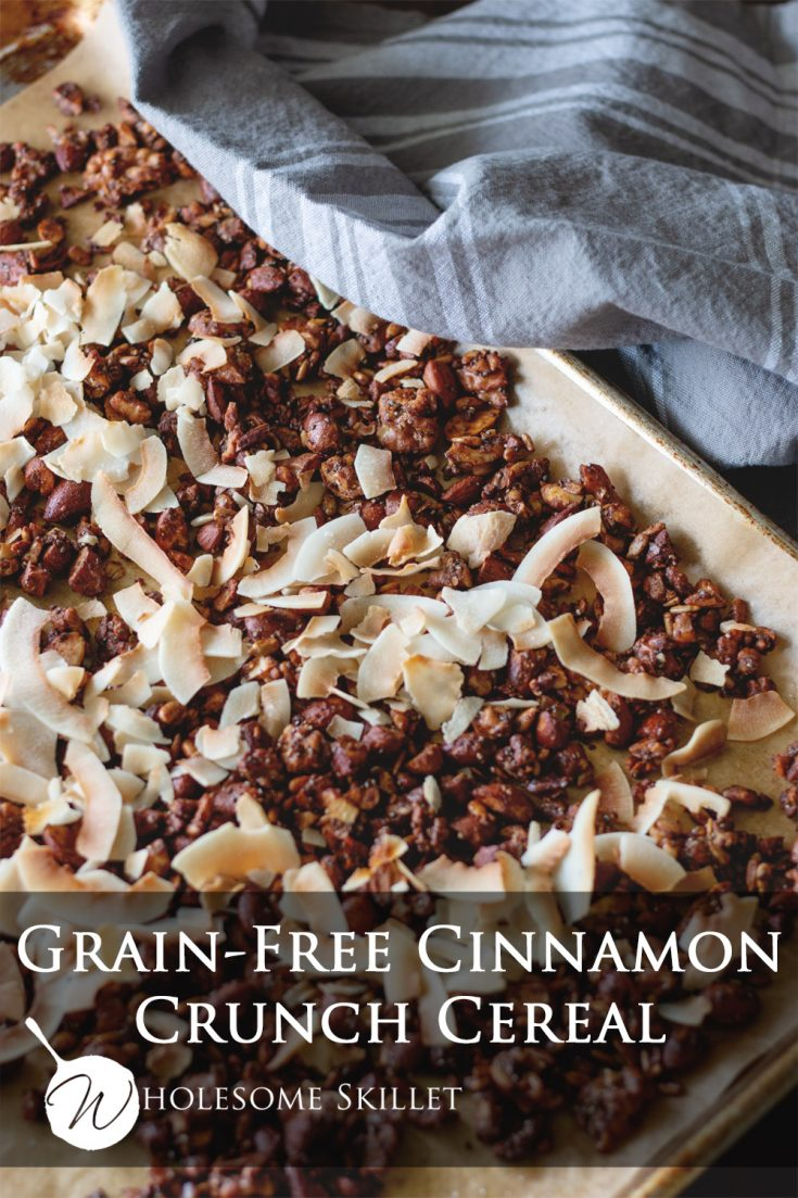 You will love all of the flavor in this Grain-Free Cinnamon Crunch Cereal. With toasted coconut, nuts and seeds, it is the perfect way to start any morning.