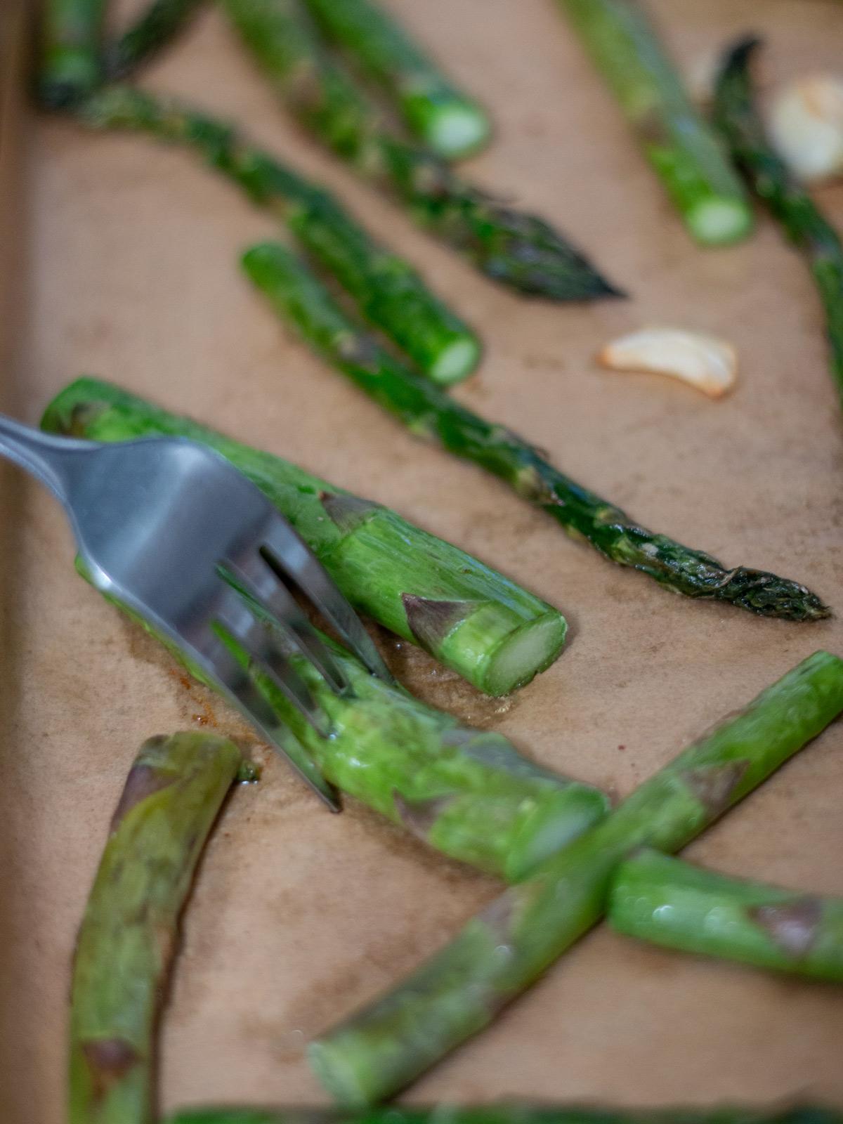 asparagus with fork