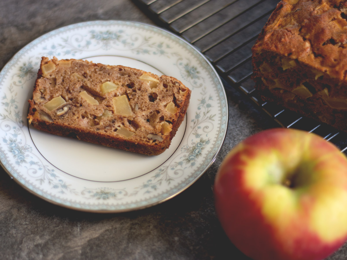 Scrumptious spiced Apple Pecan Bread is a great and healthy afternoon snack, or you can enjoy a slice with your morning cup of coffee or tea.