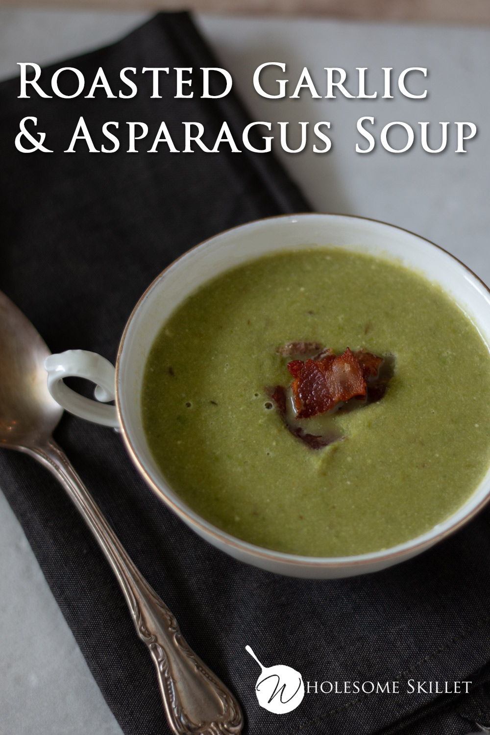 Roasted Garlic and Asparagus Soup - Enjoy a creamy soup, rich with the flavor of roasted asparagus and garlic.
