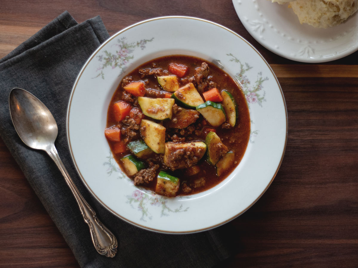 This Zucchini and Beef Soup is a hearty vegetable soup with tons of flavor. Recipe from Wholesome Skillet.